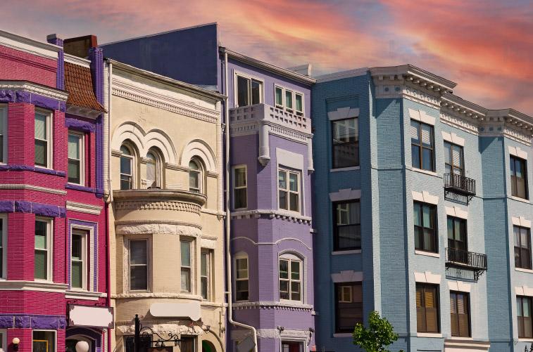 Colorful houses in Adams Morgan
