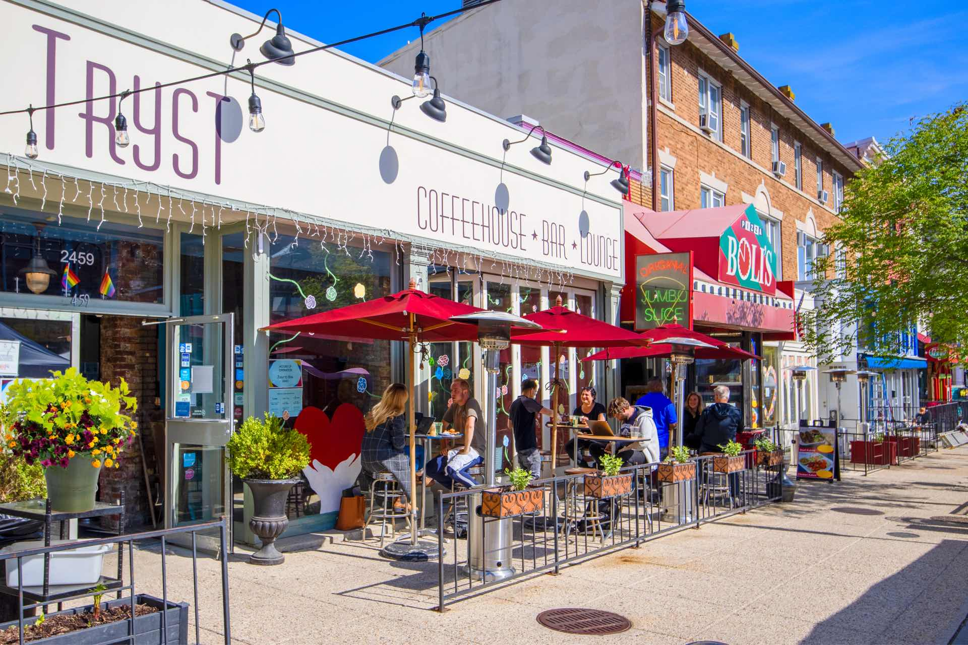 Enjoy the vibrant scene at Tryst Coffeehouse