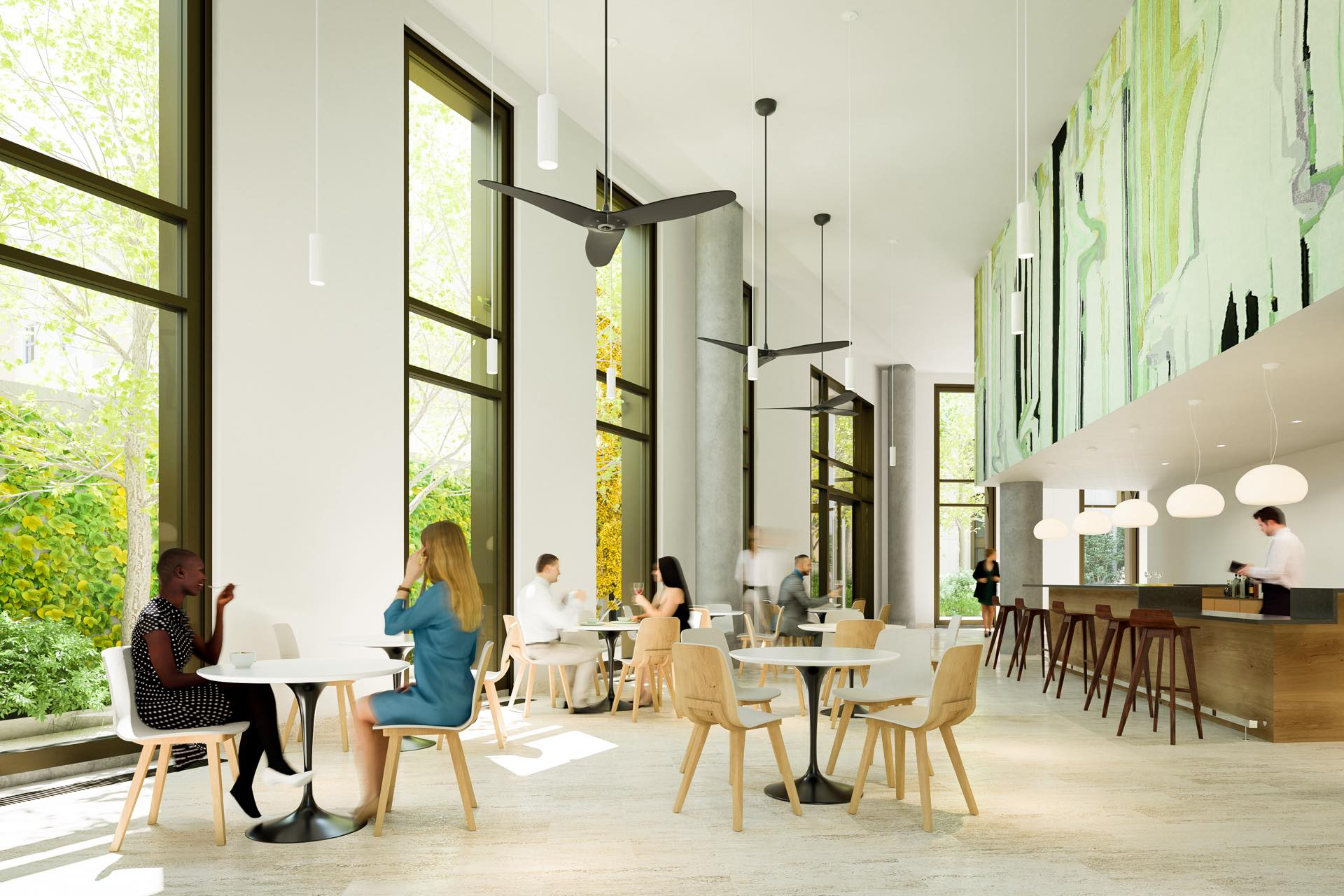 Enjoy connections with friends and neighbors in our airy cafe