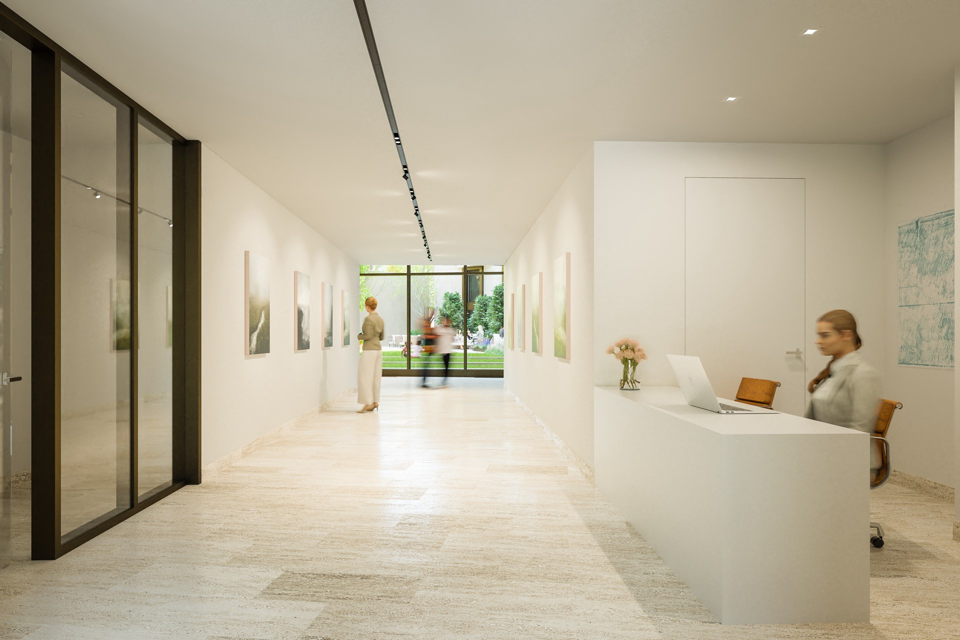 Modern lobby with views to the courtyard
