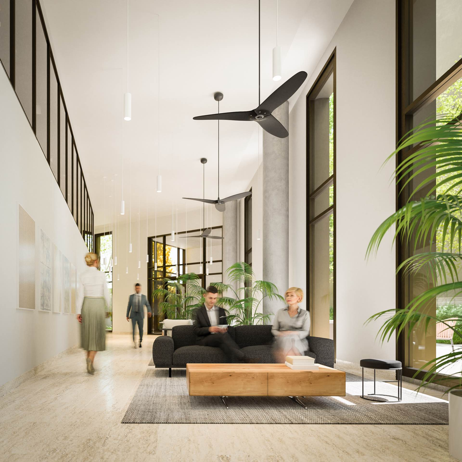 Elevated lounge spaces to connect and recharge
