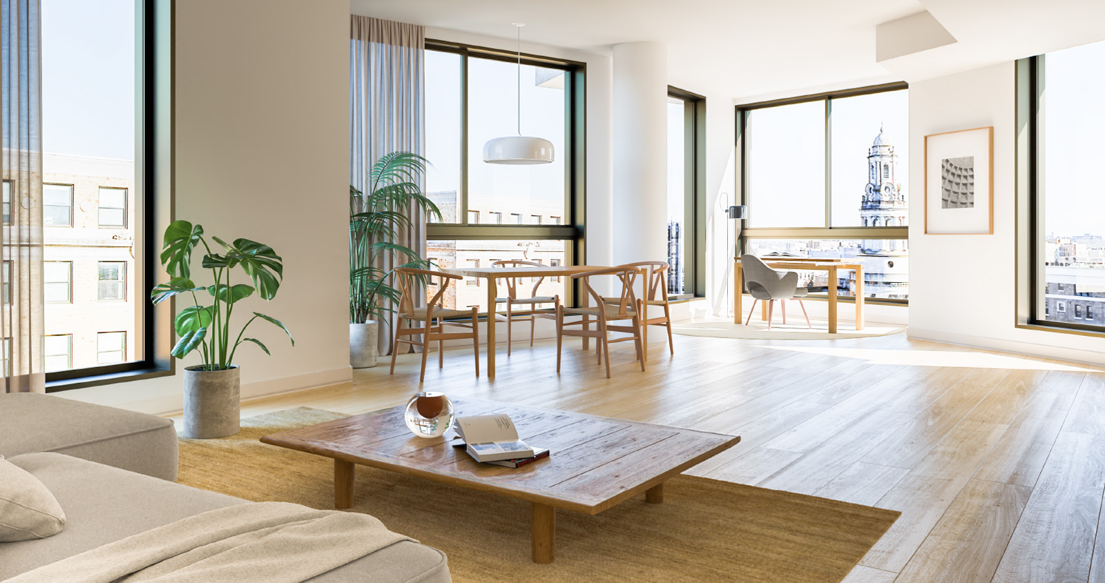 A spacious, light-filled living room in The Silva
